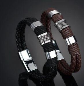 Lederarmband Armband Edelstahl mit Magnetverschluss für Herren Schwarz Braun