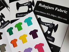 Rubyjam Fabric Solid Cotton Lycra Swatch Sample Card, all 22 colours FREE POST