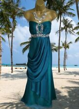 MONSOON STUNNING 100% SILK EMBELLISHED TEAL MAXI EVENING  DRESS UK  18 VGC