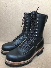 VTG Red Wing 2218 🔥Logger Firefighter Safety Tall Black Boots Steel Toe Sz 8 D