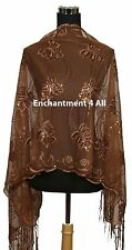 Handmade Lace Floral Pattern Scarf Shawl Wrap w Sequin & Crochet Fringe, Brown 2