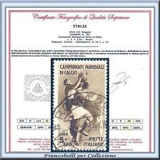 1934 Italia Regno Mondiali Calcio L. 5 + 2,50 bruno n. 361 Usato Certificato