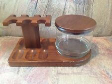 Vintage Decatur tobacco Pipe holder 6 slots wooden w glass jar