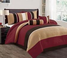 Burgundy 7 Pcs Luxury SOFT Microfiber Bedding Sets Bedroom Comforters King Size