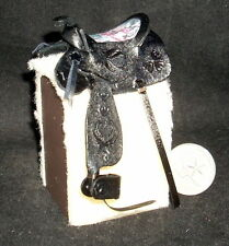 Dollhouse Miniature Saddle Black Dove & Heart Tooled Feather 1:12 Cowboy #8384