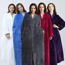 Ladies Men's Dressing Gown Soft Long Fleece Bath robe Fleece zip Robe House Coat