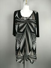 Joseph Ribkoff Black White Abstract Print Sheer Cardigan Dress Size 16