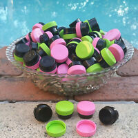 50 BLACK JARS Pink Green Caps Container Lip Balm posh DecoJars 1/4oz .25oz USA