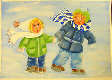 Snow Scene Play - Pat Williamson - Signed - litho print