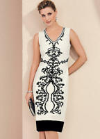Fitted and Tailored Ivory Shift Dress with Raised Cornelli Tape Detail Size 12