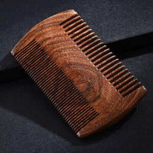 1X Green Sandalwood Pocket Beard Hair Combs 2 Size Anti-static Natural Wood Comb