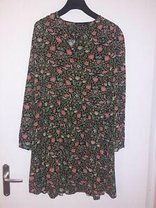 Robe noire imprimé floral T:36 MONOPRIX
