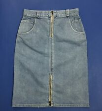 vintage mini gonna jeans W28 tg 42 vita alta retro zip denim tubo tubino T3924