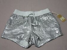 TRUE RELIGION WOMENS SEQUIN RUNNER SHORTS PALE AGAVE SILVER SHORTS SIZE MEDIUM