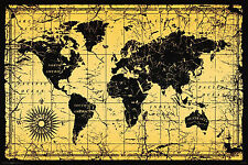 VINTAGE STYLE - WORLD MAP POSTER - 24 x 36 ANTIQUE GEOGRAPHY OLD 5617