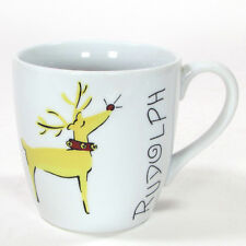 Pottery Barn REINDEER - RUDOLPH 16oz Mug Cup Porcelain China Christmas Mint