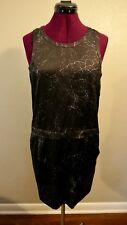 Theory Shaima Dress Black/Grey Cracked Leather Print Silk Dress, Sz 2