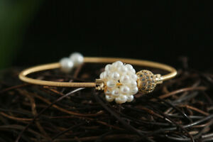 D13 Bangle Bracelet Wrapped Gilded Wire Freshwater Pearls Grapes