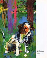 Original Vintage LEROY NEIMAN PRINT Book Plate 9x11 - Golfer The Retriever Dog