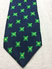 AQUASCUTUM MENS TIE THE NAVY BLUE WITH GREEN AND YELLOW 3.75 X 58