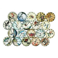 20x Round Glass Mixed Vintage Clock Cameo Cabochon Flat Back 10/12/14/18/20/25mm
