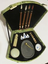 Calligraphy Brush Set / Porc.Stand & Water Bowl / Ink Stick /Soap Stone Stamp