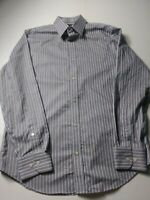 Banana Republic Mens Non Iron Slim Fit Shirt Size M Gray Striped Long Sleeve