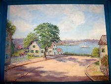 Original Vintage Folk Art Painting Harbor Village Sailboats Signed Cleo Lawrence