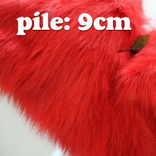 "Red SHAGGY FAUX FUR FABRIC LONG PILE FUR costumes photography backdrops 60"" BTY"