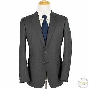 CURRENT Giorgio Armani Grey Black Wool Birdseye Soft Italy Flat F. 2Btn Suit 40R