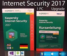 Kaspersky Internet Security 2017 Upgrade 1 PC Box + Handbuch (PDF) OVP NEU