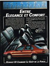 Publicité Advertising 1989 Renault 19 Chamade