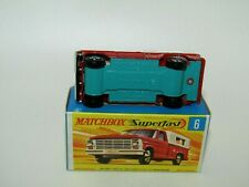 Matchbox Superfast No 6 Ford Pick-Up Truck Red Green Base Narrow Wheels MIB