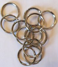"Lot 12 Key Rings 32mm / 1-1/4"" Split Ring Nickel Plated"
