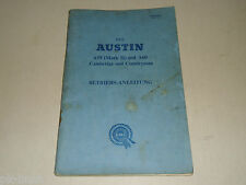 Betriebsanleitung Handbuch Austin A 55 (Mark II) + A 60 Cambridge und Countryman