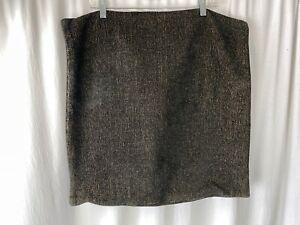 "Restoration Hardware 22"" Black Tan Basket Weave Pillow Cover Textured FABRIC"