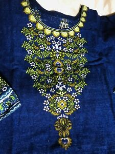 Winters Shalwar Kameez Khaddar with Plachi Dupatta Stitched Medium Uk Size