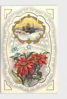 PPC POSTCARD CHRISTMAS POINSETTIAS HOLLY CHURCH SNOW EMBOSSED