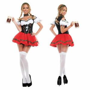 Ladies Oktoberfest Costume Beer Maid Wench Bavarian Fancy Dress Red S-2XL