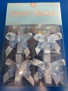Plastic Rattle Charms Baby Shower Party Gift Candy Clear Favor Boxes 2 COLORS