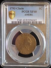 1793 1C LARGE CENT FLOWING HAIR, CHAIN CENT, AMERI S-1, R4+, PCGS, XF40 GRADED.