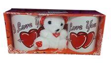 Orso Orsetto Bianco Peluche + 2 Tazze Amore San Valentino Regalo Love You dfh
