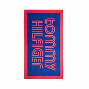 Tommy Hilfiger Cobalt Red Retro Logo Large Beach Towel. NEW RRP £65