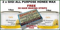 2x14oz Gigi All Purpose Honee Hair Wax 0330 FREE STRIPS
