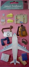 NEW 11 pc PLANE TRIP Luggage Passport Camera Map Airplane JOLEE'S 3D STICKERS