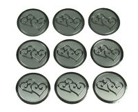 "SILVER Double HEARTS Print Wedding Round 1"" Stickers CHOOSE PACKAGE AMOUNT"