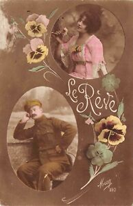 Antique Postcard France, Paris Early 1900's  Thinking Only of You  RPPC Mug 810