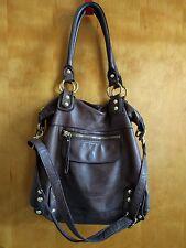 Linea Pelle Dylan Tote Shoulder Bag brown leather adjustable crossbody