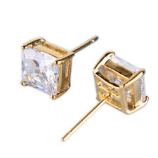 Square Diamond Sapphire 24K Yellow Gold Filled Stud Lady Women Wedding Earrings