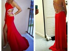 Long red prom dressdress with a slit and cutout back and side